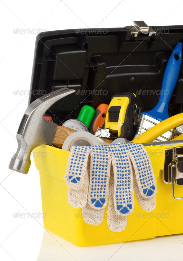 set of tools in toolbox - Stock Photo - Images