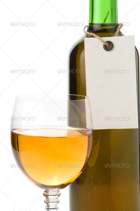 wine in glass and tag price - Stock Photo - Images
