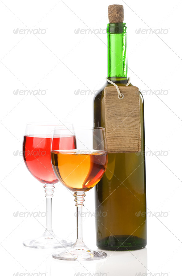 wine in glass and bottle on white - Stock Photo - Images