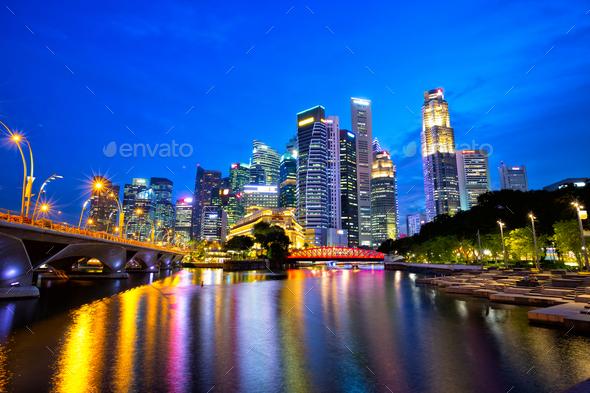 Singapore city at dusk - Stock Photo - Images