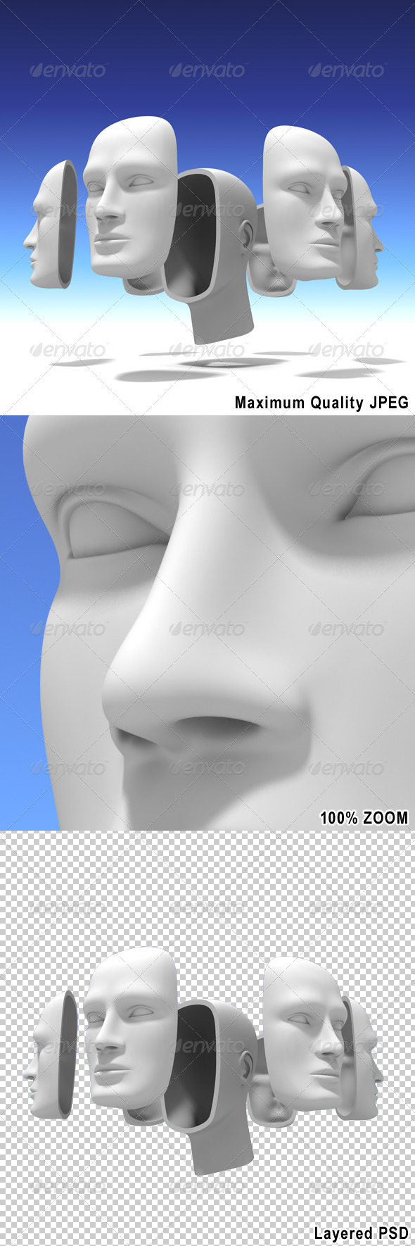 Human Head with Many Faces - Abstract 3D Renders