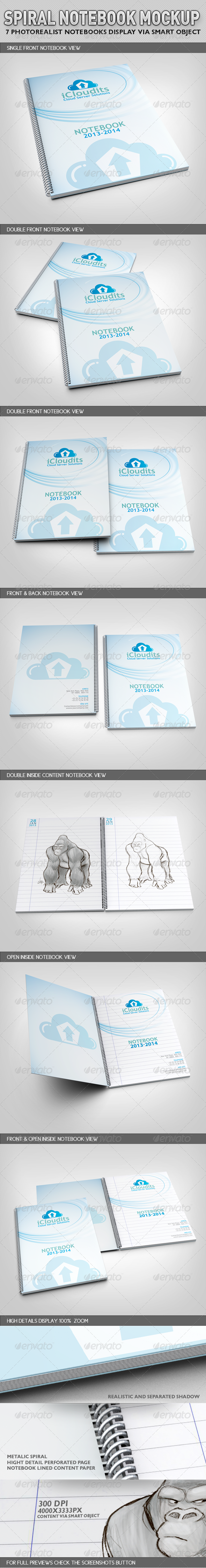 Spiral Notebook Mock-Up - Books Print