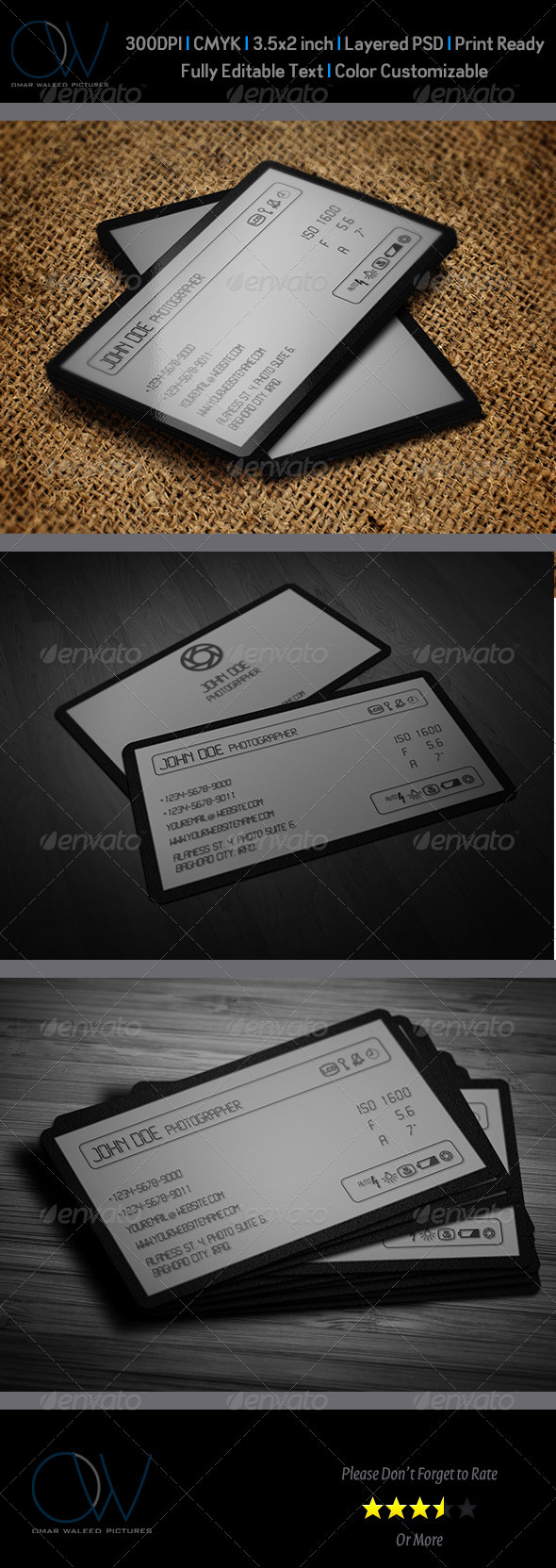 Camera LCD Business Card - Industry Specific Business Cards