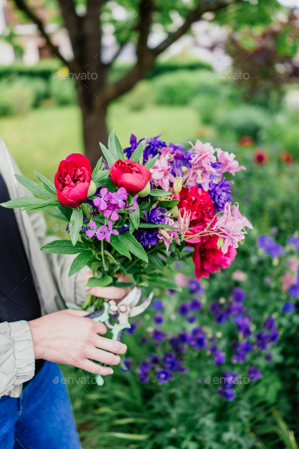 Beautiful bouquet of mixed fresh flowers - Stock Photo - Images