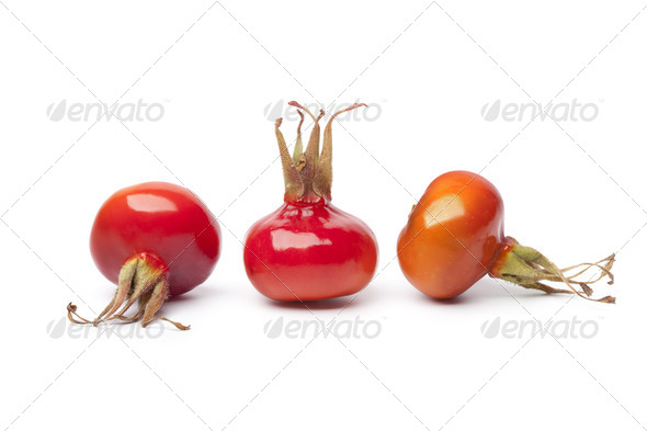 Whole fresh red rose hips - Stock Photo - Images