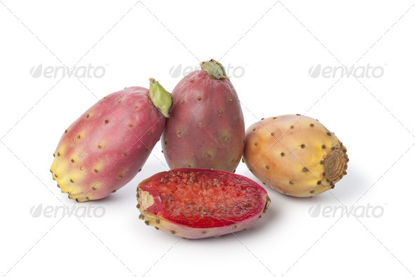 Whole and half prickly pears - Stock Photo - Images