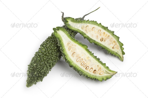 Whole and partial fresh bitter melon - Stock Photo - Images