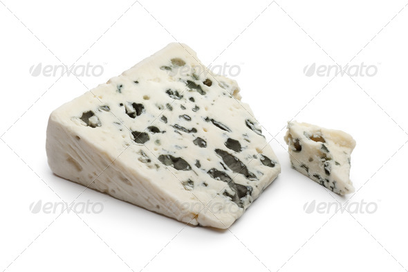 Slice of Roquefort cheese - Stock Photo - Images