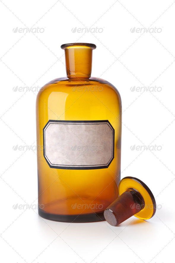 Medicine bottle with an empty label - Stock Photo - Images