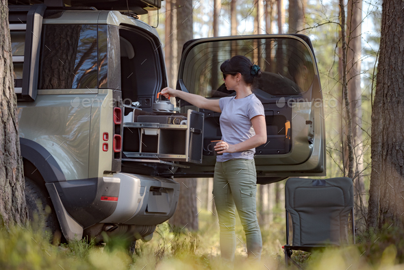 Trip in the nature by car family vacation on the weekend. - Stock Photo - Images