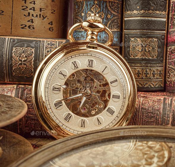 Vintage pocket watch. Vintage background Concept of time history. - Stock Photo - Images
