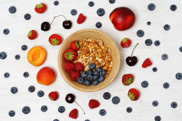 Bowl with fruits and cereals - Stock Photo - Images