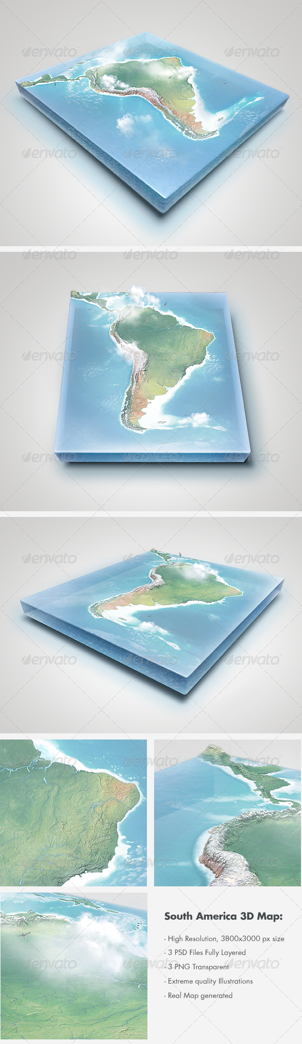 Realistic South America 3D Map - Layered - Miscellaneous Graphics