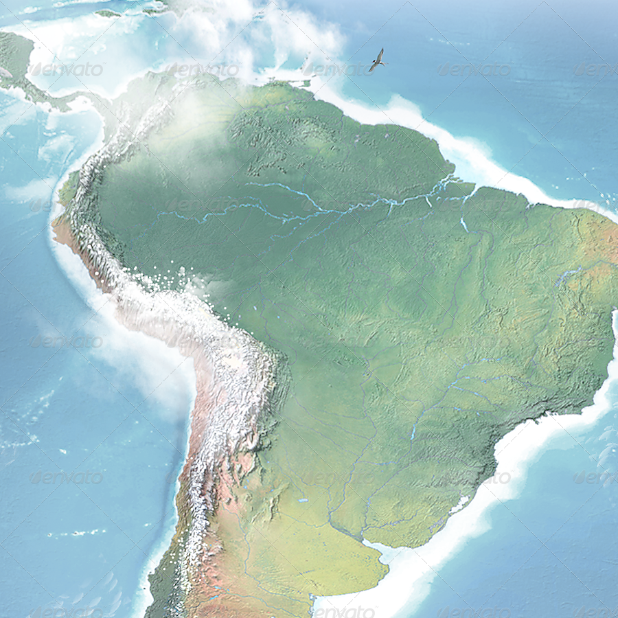 Realistic South America Map - Layered