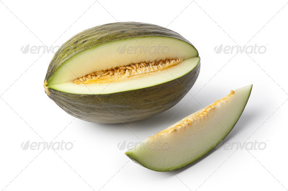 Piel de sapo melon and a slice - Stock Photo - Images