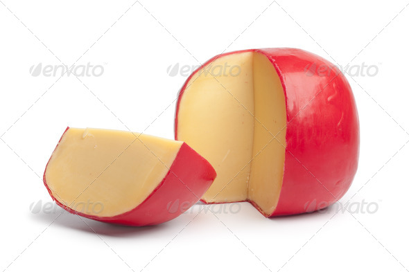 Dutch Edam cheese with a quarter - Stock Photo - Images