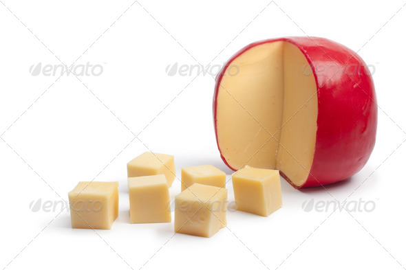 Dutch Edam cheese cubes - Stock Photo - Images