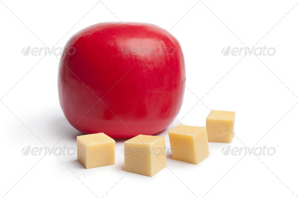 Dutch Edam cheese and cubes - Stock Photo - Images