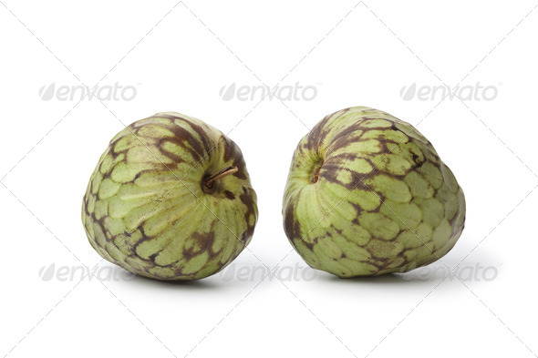 Pair of whole Cherimoya fruit - Stock Photo - Images