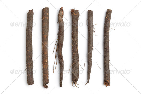 Fresh black salsify in a row - Stock Photo - Images