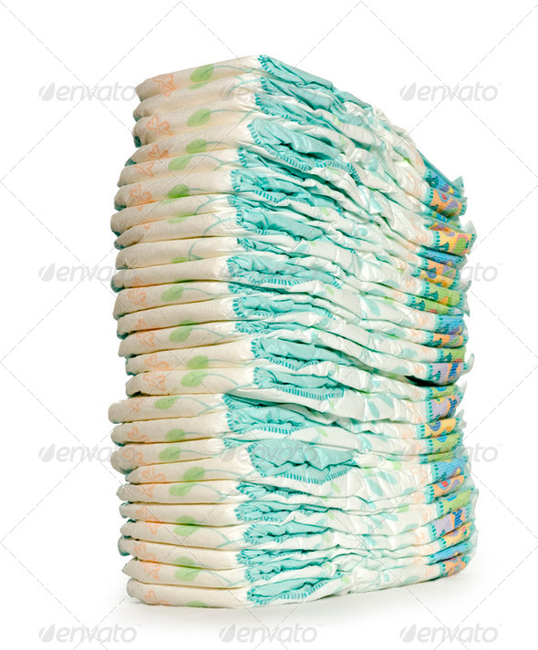 Stack of Diapers at the nursery - Stock Photo - Images