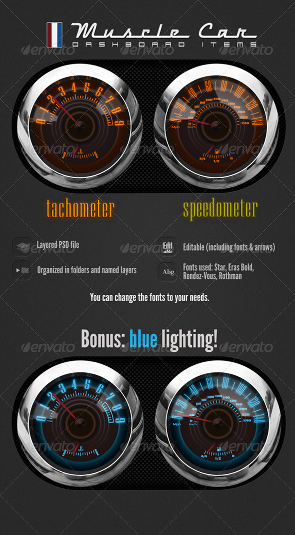 Muscle Car Dashboard Realistic Items - Miscellaneous Illustrations
