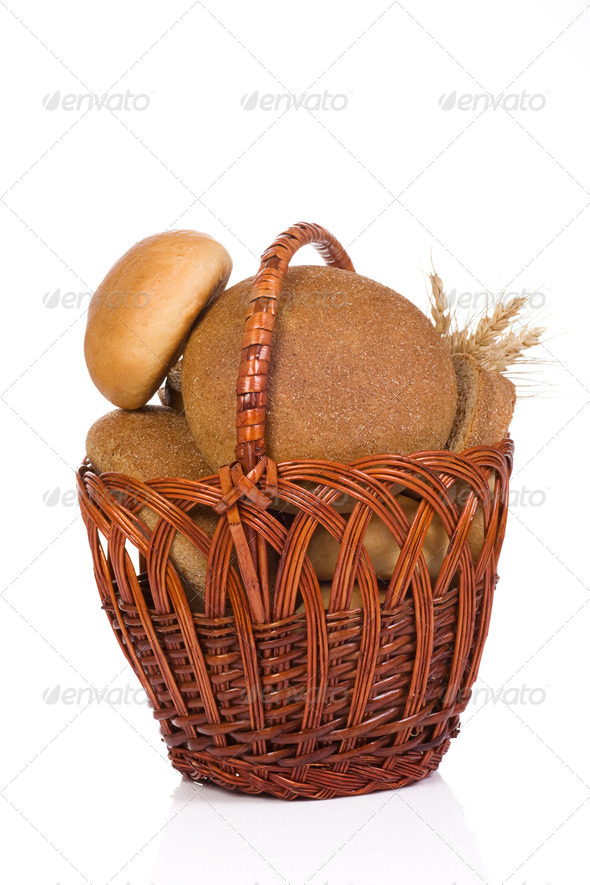 full basket with bread - Stock Photo - Images