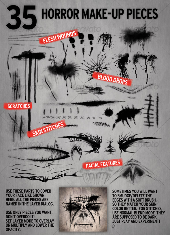 35 Make-up elements for Horror Retouch  - Miscellaneous Web Elements