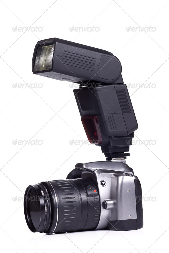 photo camera with flash - Stock Photo - Images
