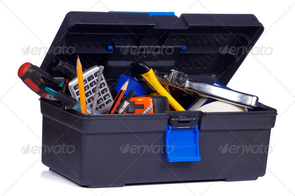box with tools on white - Stock Photo - Images