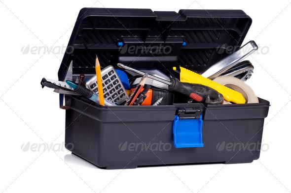 toolbox on white background - Stock Photo - Images