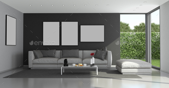 Blck and gray modern living room - Stock Photo - Images