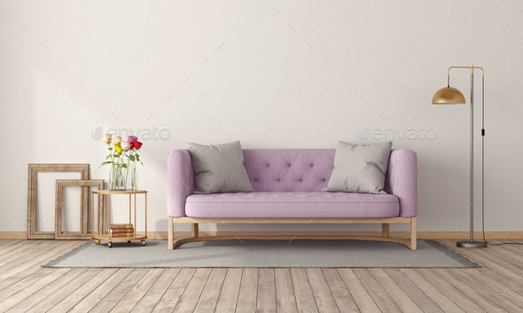 Retro style room with pink sofa - Stock Photo - Images