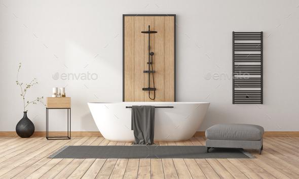 Minimalist bathroom with bathtub and shower - Stock Photo - Images