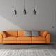 Orange sofa in a gray room with closed door - PhotoDune Item for Sale