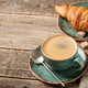 Cup of coffee and fresh croissant - PhotoDune Item for Sale