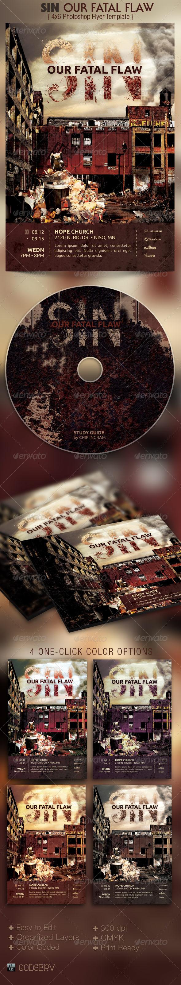 Sin Church Flyer CD Template - Church Flyers
