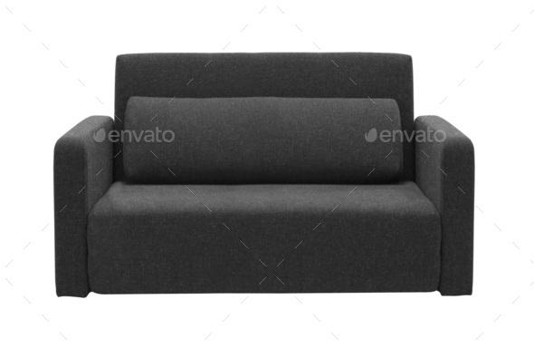 black sofa isolated on white - Stock Photo - Images