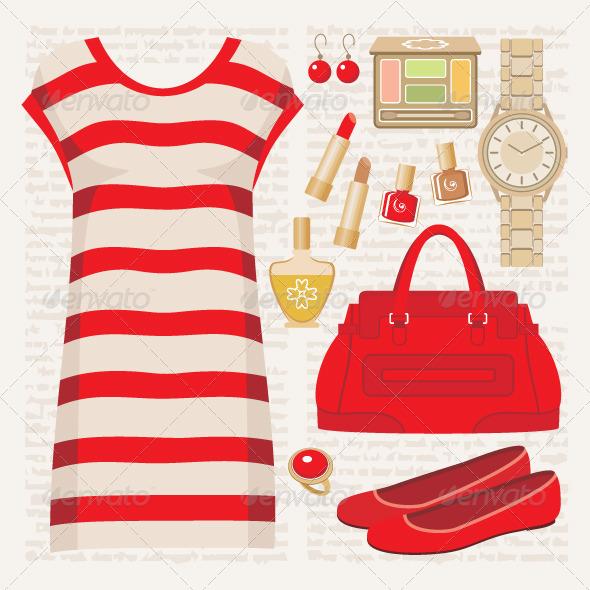 Fashion set with a tunic - Conceptual Vectors