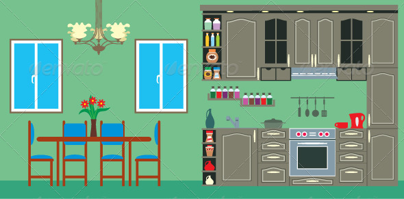 Kitchen furniture. Interior - Objects Vectors
