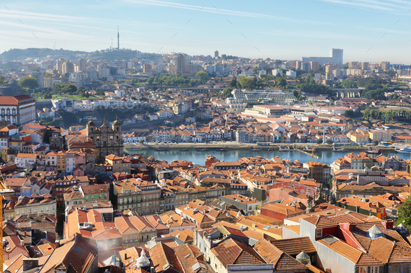 View from Clerigos Tower in downtown Porto city - Stock Photo - Images