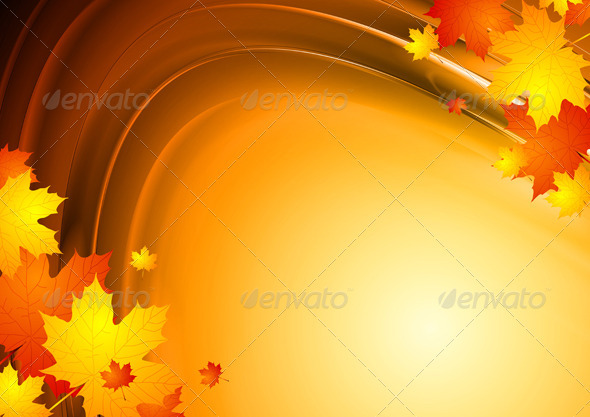 Abstract autumn design with maple leaves - Seasons Nature