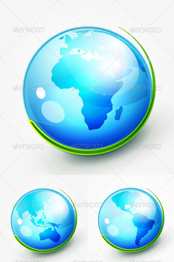 Glossy Vector Earth Globe - Nature Conceptual