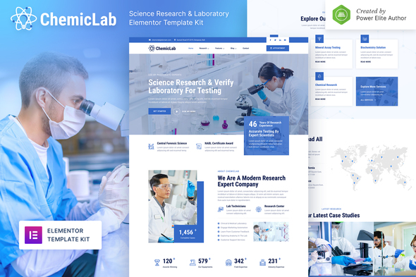 ChemicLab – Science Research & Laboratory Elementor Template Kit