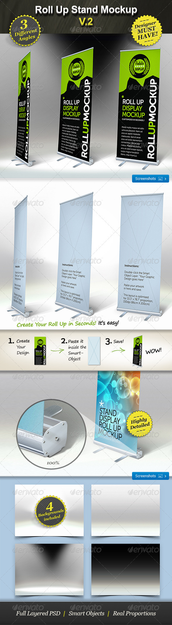 Roll Up Stand Mockup - Smart Template Display - Signage Print