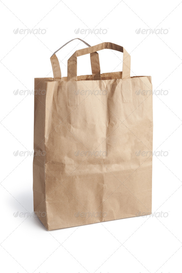 Empty brown paper shopping bag - Stock Photo - Images