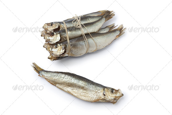 Bunch of smoked pearlsides fishes - Stock Photo - Images