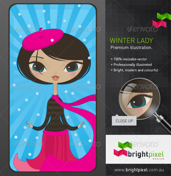 Winter Lady Illustration - Characters Vectors