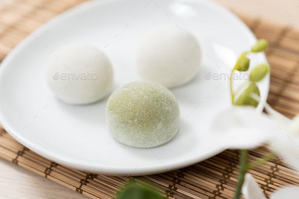 Japanese matcha and original mochi or daifuku dessert - Stock Photo - Images