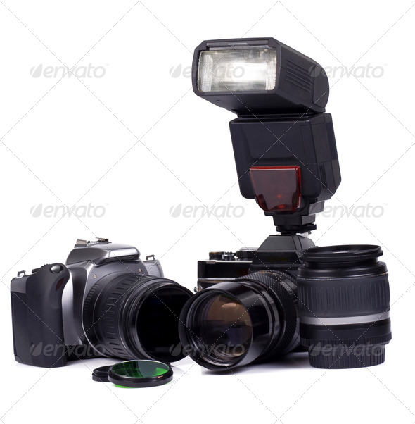 digital and film camera - Stock Photo - Images
